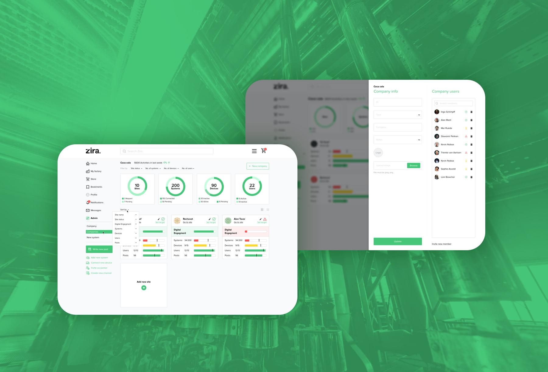 Zira product UX UI