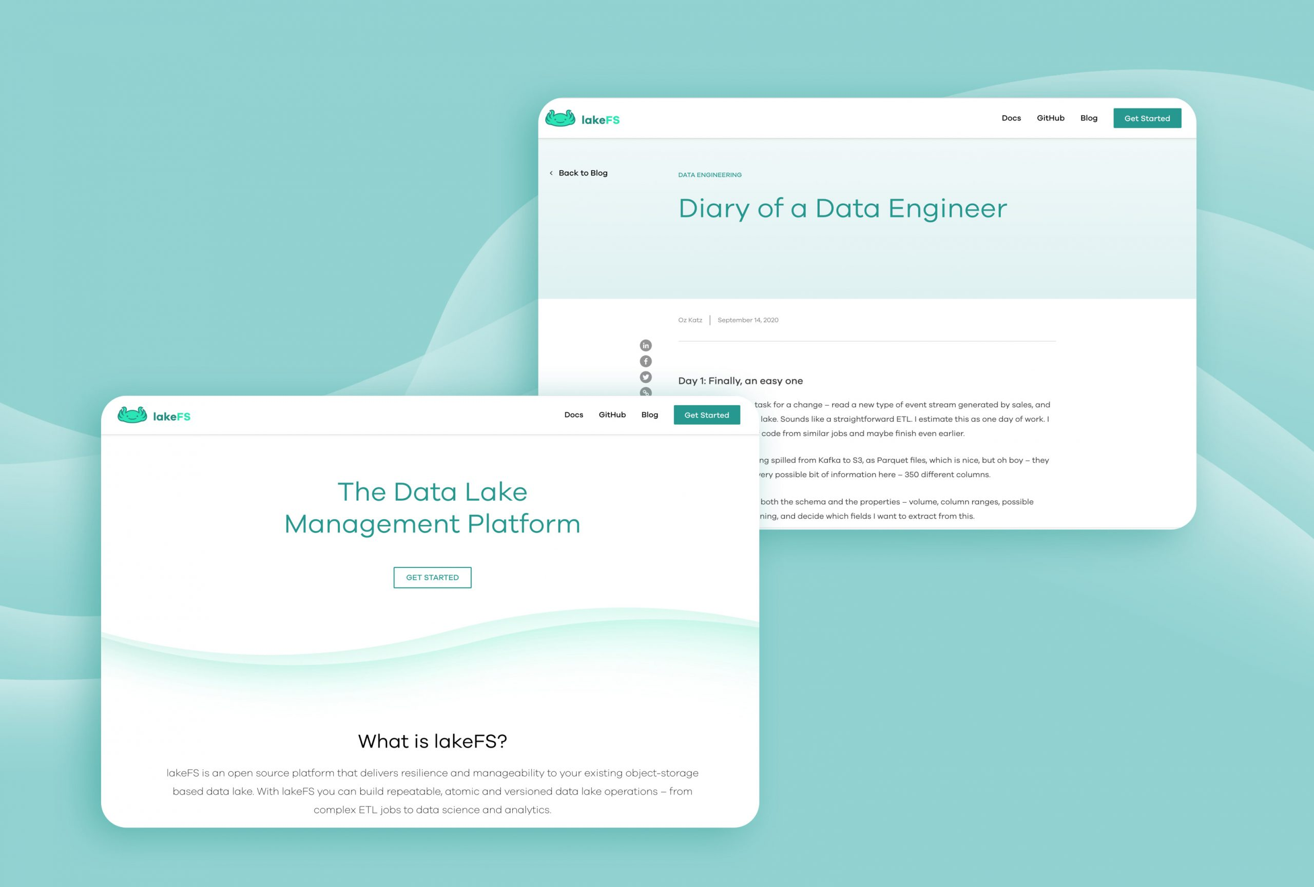 LakeFS website UX UI by hello