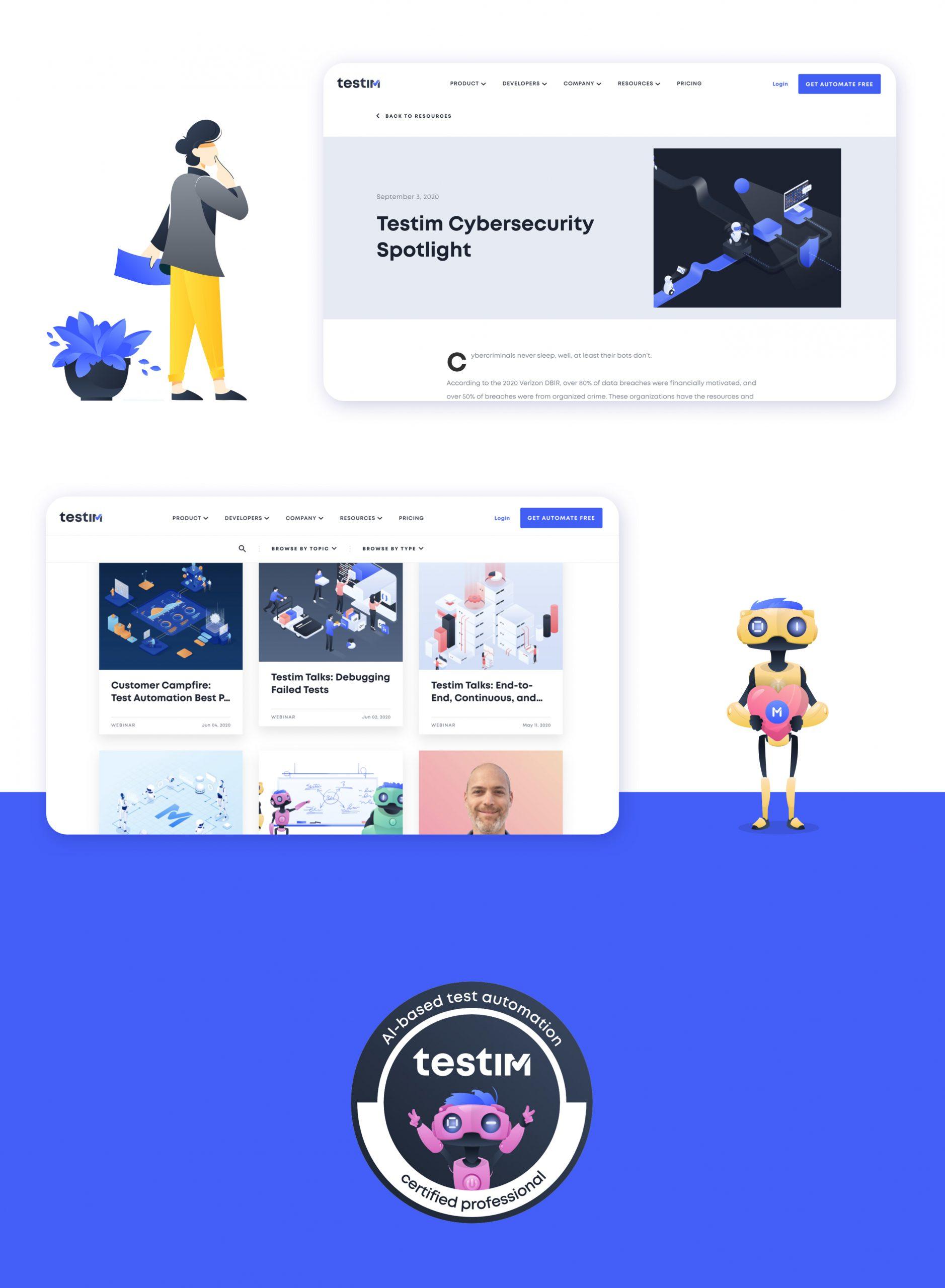 Testim.io marketing design